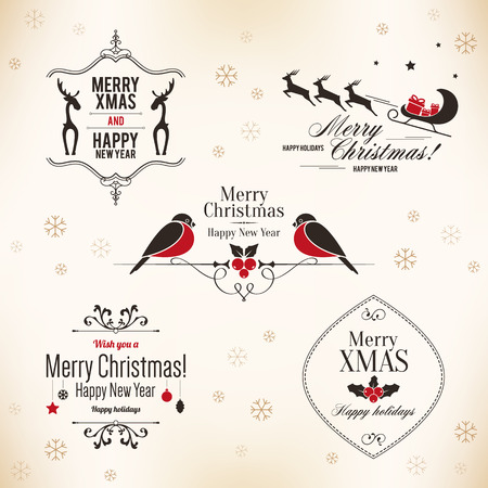 Christmas and New Year symbols for designs postcard, invitation Imagens - 30728066