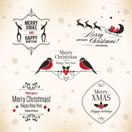 Kerstmis en Nieuwjaar symbolen voor ontwerpen Postkaart, uitnodiging