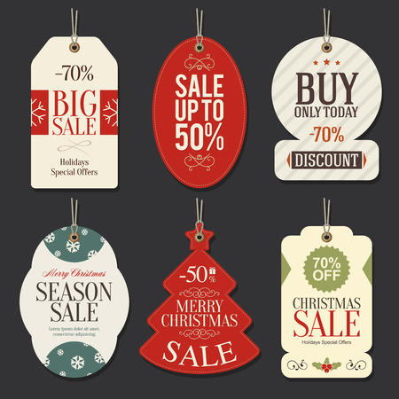 Retail Sale Tags and Clearance Tags. Festive christmas design Vector