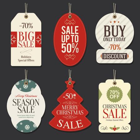 kerst markt: Retail Sale Tags en Clearance Tags. Feestelijke kerst ontwerp