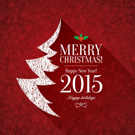 Christmas and New Year. Vector greeting card Vectores