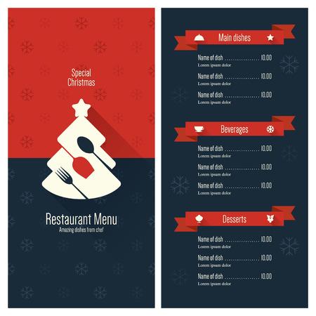 label retro: El dise�o especial del men� festivo de Navidad