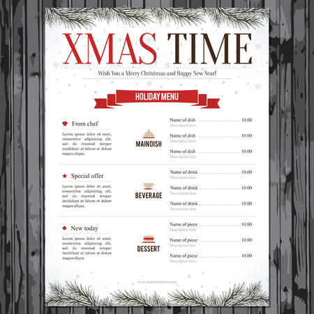 holiday meal: Special Christmas festive menu design Illustration