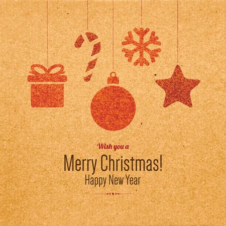 Weihnachten und Neujahr. Grußkarte