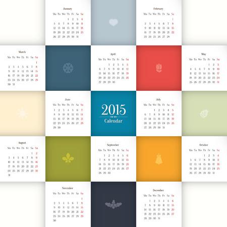 illustrazione sole: 2015 modello di calendario Vettoriali