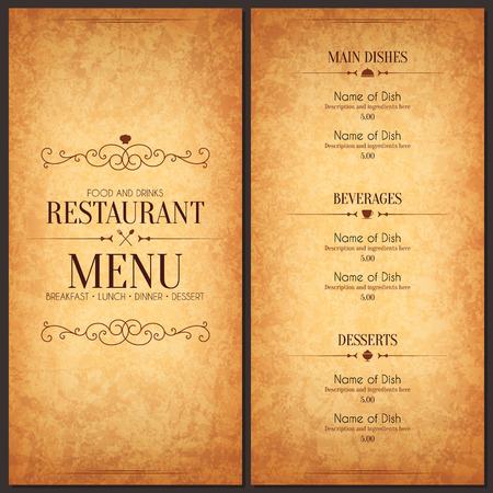 vintage: Diseño del menú del restaurante
