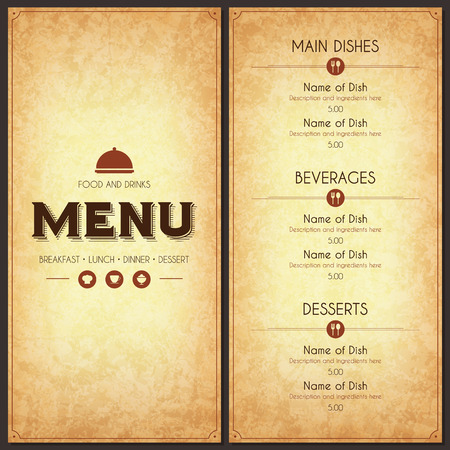 of food: Restaurant menu design