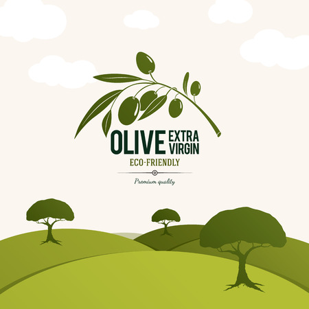 on the tree: Olive label, logo design. Olive tree