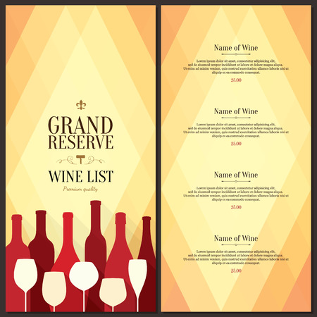 Wine list design Vectores