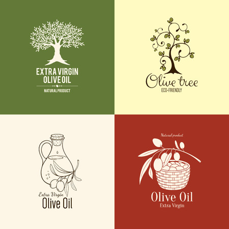 オリーブのラベル、ロゴのデザイン  イラスト・ベクター素材