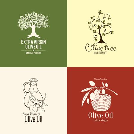 olivo arbol: Etiqueta de oliva, diseño de logotipos