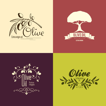 rama de olivo: Etiqueta de oliva, diseño de logotipos