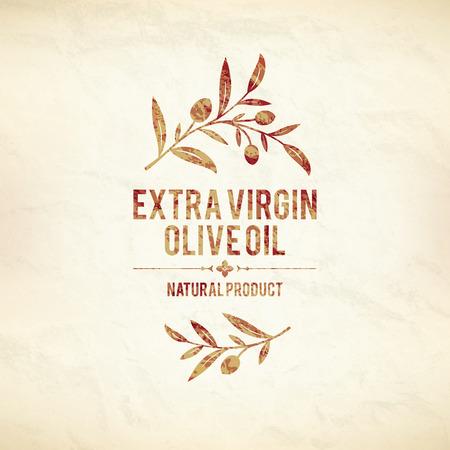 Olive label, logo ontwerp Stock Illustratie