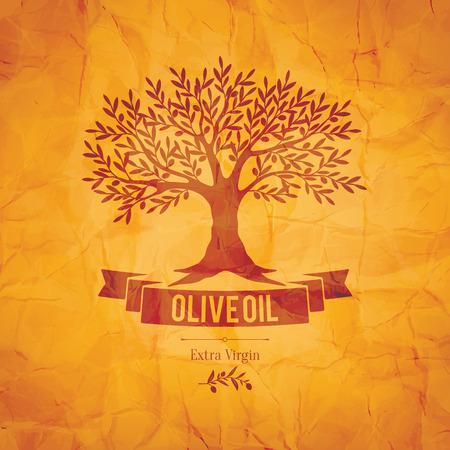 Olive label, logo design. Olive tree Vector