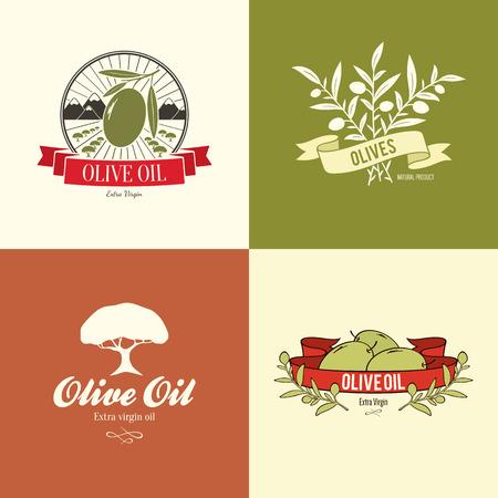 �rbol olivo: Etiqueta de oliva, dise�o de logotipos