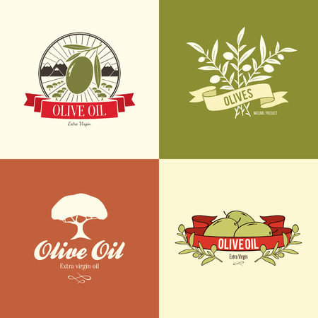 Olive label, logo ontwerp Stock Illustratie