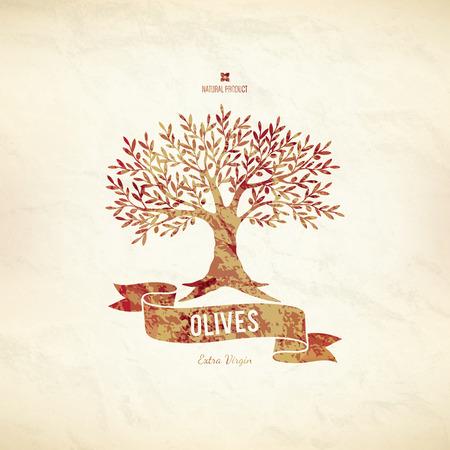 Olive label, logo design. Olive tree