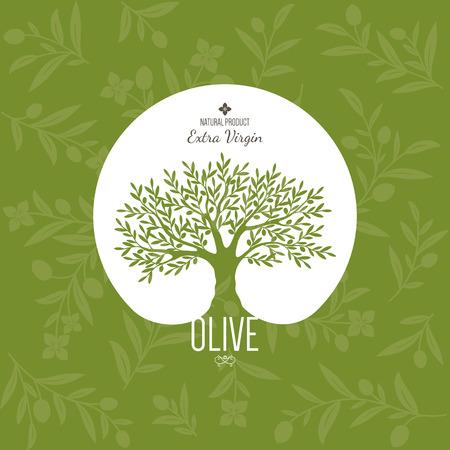 オリーブのラベル、ロゴのデザインです。オリーブの木  イラスト・ベクター素材