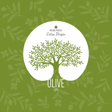 Olive Etikett, Logo-Design. Olivenbaum Illustration