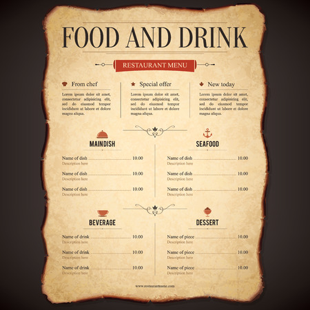 restaurant dining: Restaurant menu design on the old paper parchment Illustration