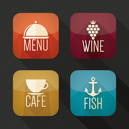 Food and drink application icons. Flat design Vector