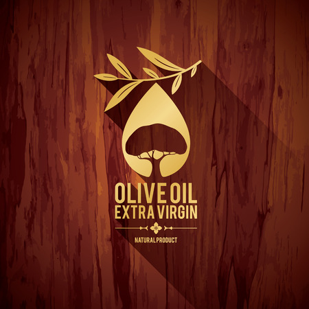 Olive label design Stock Illustratie