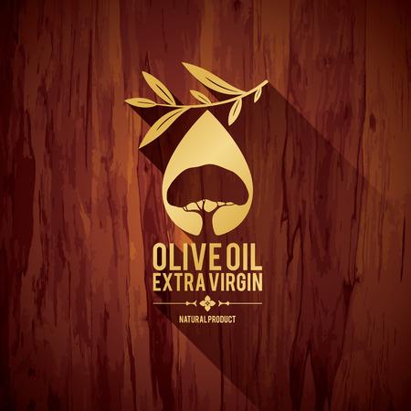 Olive label design Illustration