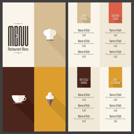 menu de postres: Men� del restaurante. Dise�o plano Vectores