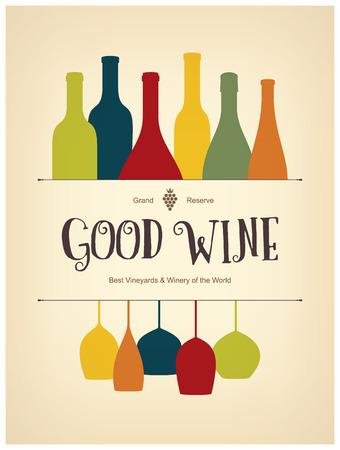 wine menu: Wine list design Illustration