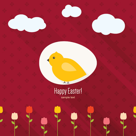 Happy Easter greeting card. Flat design Vector