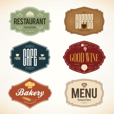 vintage: Vintage e etiquetas de design. definido para o restaurante, café e casa de café Ilustração