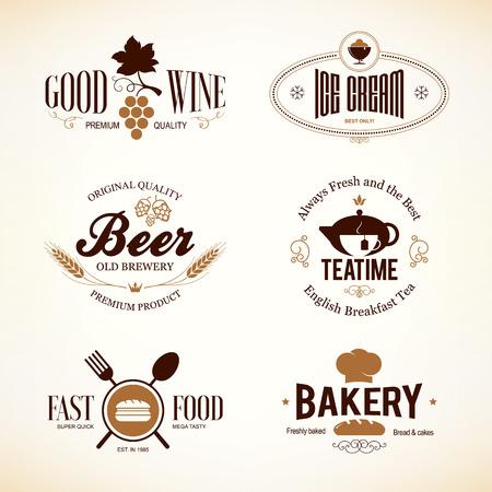comida rapida: Vintage y etiquetas de dise�o. fijado para restaurante, cafeter�a y caf�