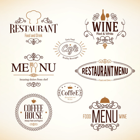 Vintage and labels design. set for restaurant, cafe and coffee house Çizim