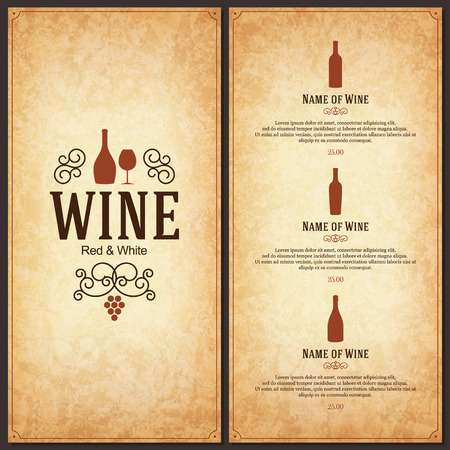 Wine list design Vettoriali