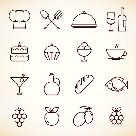 レストラン、カフェ、コーヒー ハウスのアイコンを設定します。