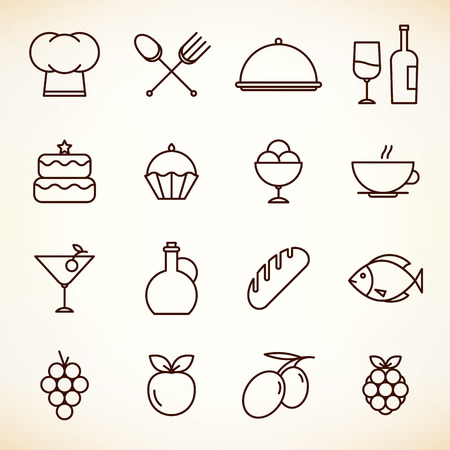Icons set for restaurant, cafe and coffee house