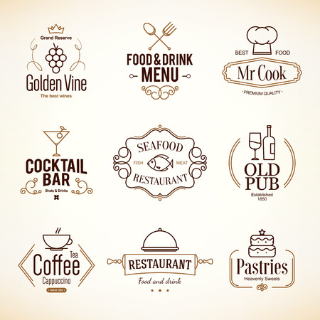 fish shop: Vintage  and labels design.  set for restaurant, cafe and coffee house