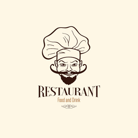 Icon design for restaurant. With funny chef Vector