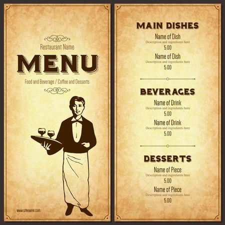 speisekarte: Retro Restaurant Men�-Design mit der Silhouette von einem Kellner