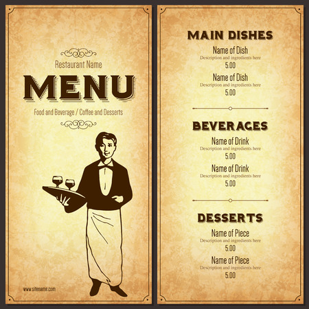 menu design: Retro restaurant menu design with the silhouette of a waiter