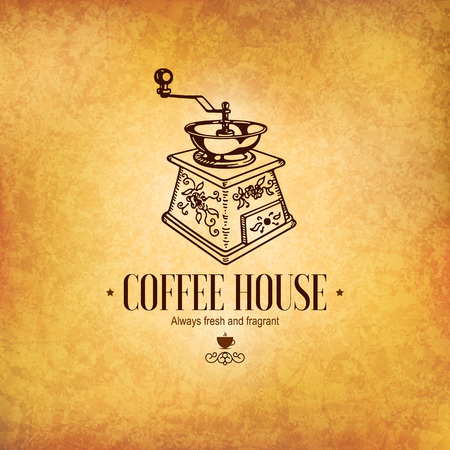 Menu for restaurant cafe bar coffee house. Old coffee grinder Vector