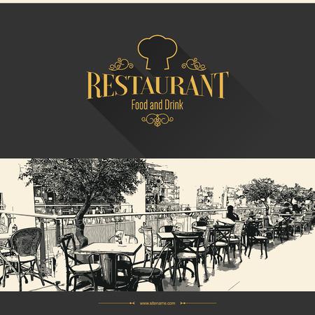 ビンテージ: レトロなレストラン メニュー デザイン。スケッチ写真付き