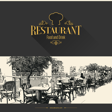 food menu: Retro restaurant menu design. With a sketch pictures