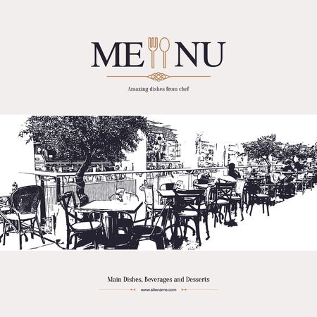 menu background: Retro restaurant menu design. With a sketch pictures