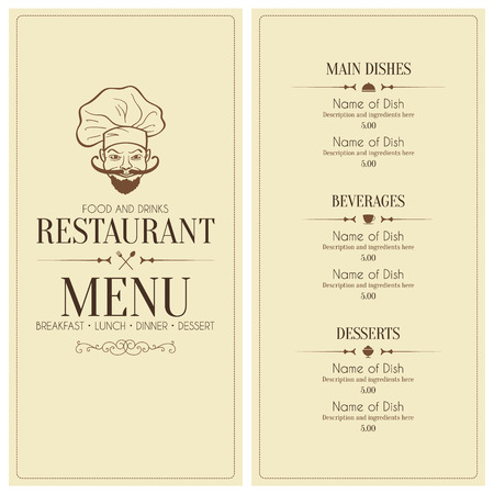 Restaurante retro diseño del menú