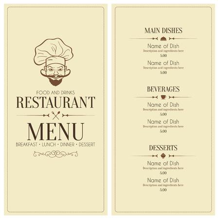 menu de postres: Restaurante retro diseño del menú Vectores
