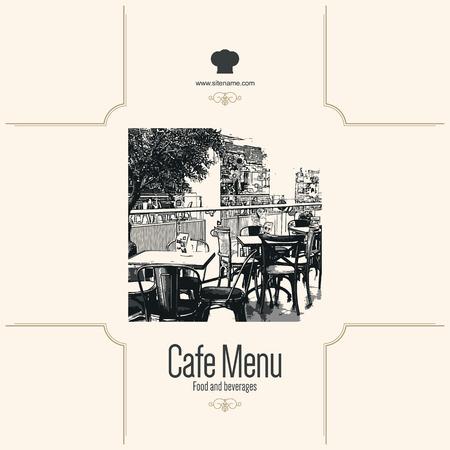 Retro restaurant menu design. With a sketch pictures Vector