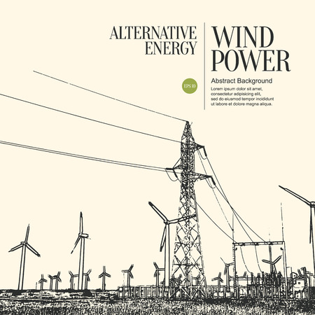 Abstract sketch stylized background. Electric power plant and wind turbines Vectores