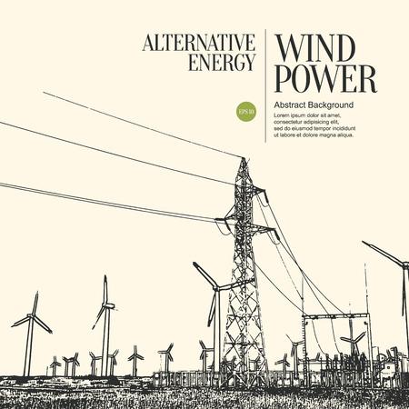 boceto: Resumen boceto fondo estilizado. Turbinas de la planta de energ�a el�ctrica y viento