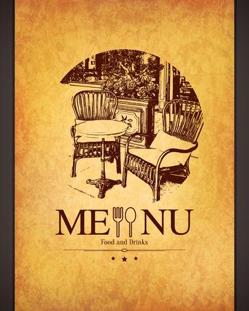 Retro restaurant menu design. With a sketch picture Vectores